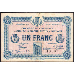 Chalon-sur-Saône / Autun / Louhans - Pirot 42-04b - 1 franc - Etat : TB+
