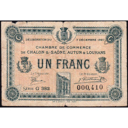 Chalon-sur-Saône / Autun / Louhans - Pirot 42-30 - 1 franc - Etat : B