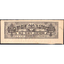 Colombie - Billet train 1895 - 20 centavos - Etat : TTB