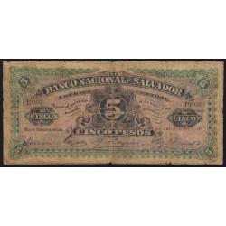 El Salvador - Pick S 162b - 5 pesos - Série A - 1908 - Etat : B-