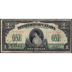 Canada - Pick 32b - 1 dollar - 1917 - Etat : TB-
