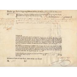 Seine - Paris - Louis XV - Emprunt royal de 1720 - Denier 40 - Sign. 1 - Etat : SUP