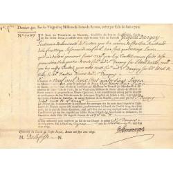 Seine - Paris - Louis XV - Emprunt royal de 1720 - Denier 40 - Sign. 2 - Etat : TTB