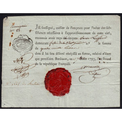 Gironde - Bordeaux - Révolution - 4000 livres - 1793 - Etat : TTB+
