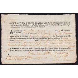 Somme - Amiens - Louis XV - 1717 - Actes d'affirmation de voyage - Etat : SUP