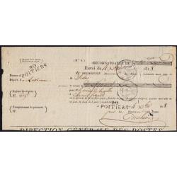 Vienne - Poitiers - Louis XVIII - 1818 - 10 francs envoyés par Poste - Etat : TTB