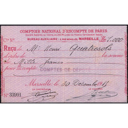 Comptoir National d'Escompte de Paris - 1915 - Etat : SUP