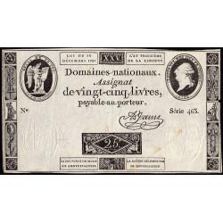 Assignat 22a - 25 livres - 16 décembre 1791 - Etat : TTB