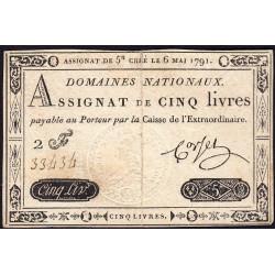 Assignat 12a - 5 livres - 6 mai 1791 - Etat : TTB+