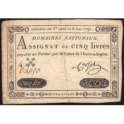 Assignat 12a - 5 livres - 6 mai 1791 - Etat : TTB-