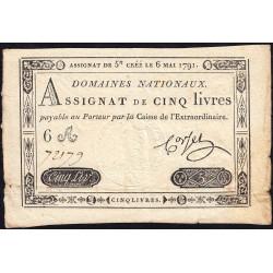 Assignat 12a - 5 livres - 6 mai 1791 - Etat : TTB