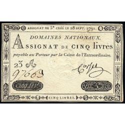 Assignat 19a - 5 livres - 28 septembre 1791 - Etat : SPL