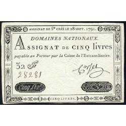 Assignat 19a - 5 livres - 28 septembre 1791 - Etat : SUP+
