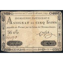 Assignat 19a - 5 livres - 28 septembre 1791 - Etat : TB