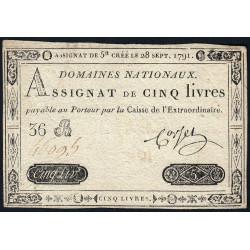 Assignat 19a - 5 livres - 28 septembre 1791 - Etat : TTB-