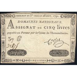 Assignat 19a - 5 livres - 28 septembre 1791 - Etat : TTB