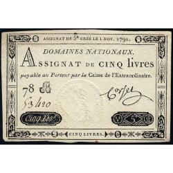 Assignat 20a - 5 livres - 1 novembre 1791 - Etat : SUP+