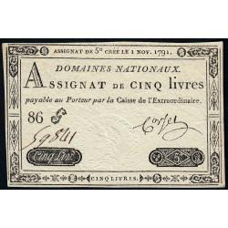 Assignat 20a - 5 livres - 1 novembre 1791 - Etat : pr.NEUF
