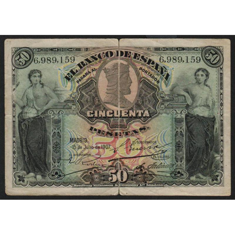 Espagne - Pick 63a - 50 pesetas - 1907 - Etat : TB-