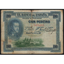 Espagne - Pick 69a - 100 pesetas - 1925 - Sans série - Etat : B+