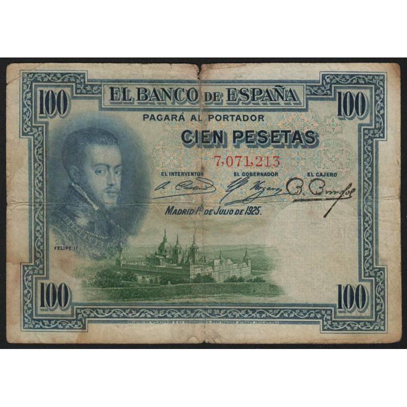 Espagne - Pick 69a - 100 pesetas - 1925 - Etat : B+