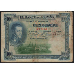 Espagne - Pick 69a - 100 pesetas - 1925 - Série A - Etat : B+