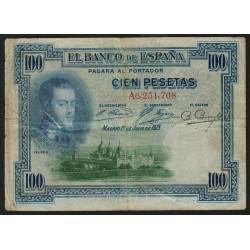 Espagne - Pick 69a - 100 pesetas - 1925 - Série A - Etat : TB