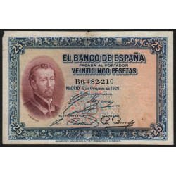 Espagne - Pick 71a - 25 pesetas - 1926 - Série B - Etat : TB-