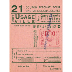 Coupon achat chaussures - Réf : 21 - 1944 - Etat : NEUF