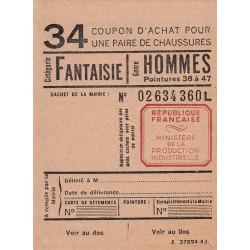 Coupon achat chaussures - Réf : 34 - 1944 - Etat : NEUF