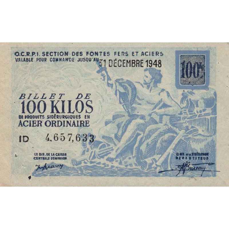 100 kg acier ordinaire - 31-12-1948 - Endossé - Etat : TTB+