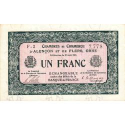 Alençon / Flers (Orne) - Pirot 6-13 - 1 franc - 1915 - Etat : SUP+