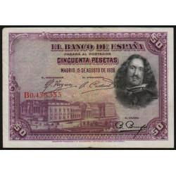 Espagne - Pick 75c - 50 pesetas - 1928 - Série B - Etat : TTB