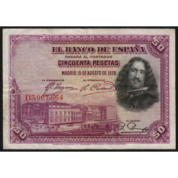 Espagne - Pick 75c - 50 pesetas - 1928 - Série D - Etat : TB