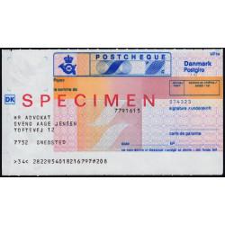 Danemark - Postchèque spécimen - 1980 - Etat : SPL