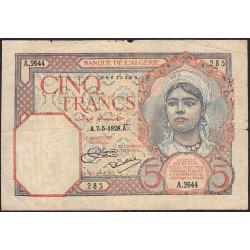 Algérie - Pick 77a_1 - 5 francs - 1928 - Etat : TB