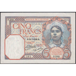 Algérie - Pick 77a_1 - 5 francs - 1929 - Etat : SUP