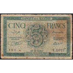 Algérie - Pick 91 - 5 francs - 1942 - Etat : B