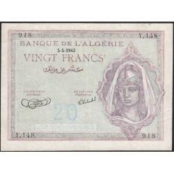 Algérie - Pick 92a_1 - 20 francs - 1943 - Etat : SUP