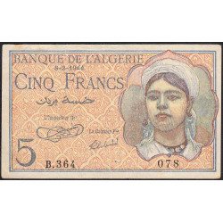 Algérie - Pick 94a - 5 francs - 1944 - Etat : SUP-