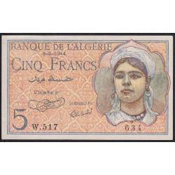 Algérie - Pick 94a - 5 francs - 1944 - Etat : pr.NEUF