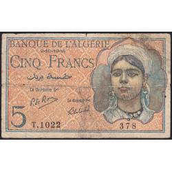 Algérie - Pick 94b - 5 francs - 1944 - Etat : B+