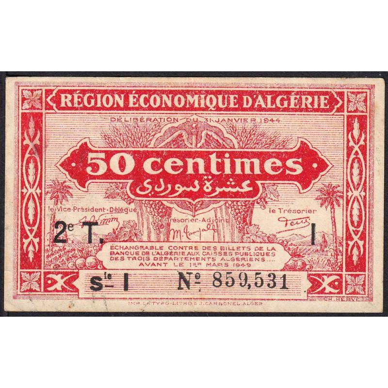 Algérie - Pick 100 - 50 centimes - Série I - 1944 - Etat : TTB