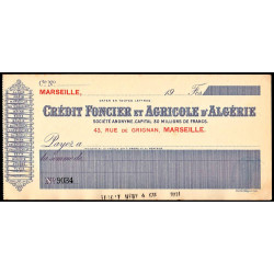 Algérie - Crédit Foncier et Agricole - 1910 - Etat : SPL