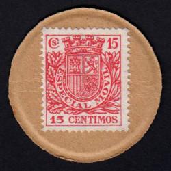 Espagne - Pick 96R - 15 centimos - Timbre monnaie - 1938 - Etat : NEUF