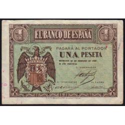 Espagne - Pick 107 - 1 peseta - 1938 - Série C - Etat : TB+
