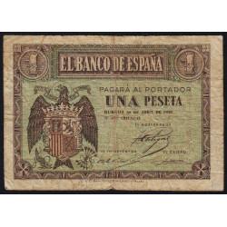 Espagne - Pick 108 - 1 peseta - 1938 - Série F - Etat : B+