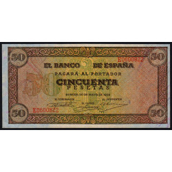 Espagne - Pick 112 - 50 pesetas - 1938 - Série E - Etat : SPL