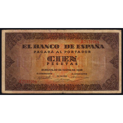 Espagne - Pick 113 - 100 pesetas - 1938 - Série A - Etat : TB