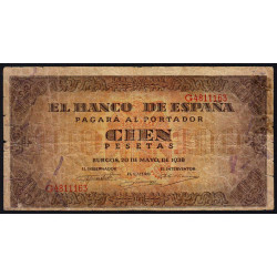 Espagne - Pick 113 - 100 pesetas - 1938 - Série G - Etat : B